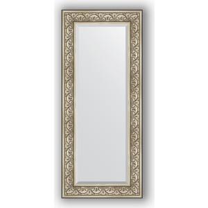 Зеркало с фацетом в багетной раме поворотное Evoform Exclusive 60x140 см, барокко серебро 106 мм (BY 3528) зеркало с фацетом в багетной раме поворотное evoform exclusive 65x150 см барокко серебро 106 мм by 3554