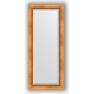 Зеркало с фацетом в багетной раме поворотное Evoform Exclusive 61x146 см, римское золото 88 мм (BY 3542) зеркало с гравировкой поворотное evoform exclusive g 56x74 см в багетной раме римское золото 88 мм by 4017