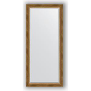Зеркало с фацетом в багетной раме поворотное Evoform Exclusive 73x163 см, состаренное бронза плетением 70 мм (BY 3588)