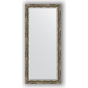 Зеркало с фацетом в багетной раме поворотное Evoform Exclusive 73x163 см, старое дерево плетением 70 мм (BY 3590)