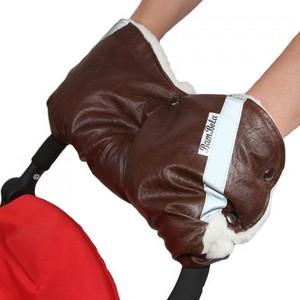 Муфта для коляски BamBola шерстяной мех, кожа Коричневая на кнопках
