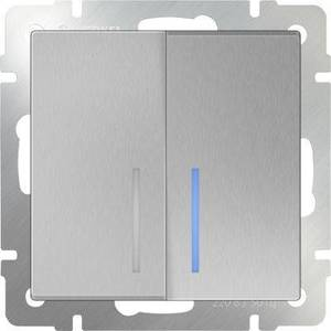 Выключатель двухклавишный проходной Werkel серебряный WL06-SW-2G-2W-LED