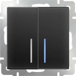 Выключатель двухклавишный проходной Werkel черный матовый WL08-SW-2G-2W-LED