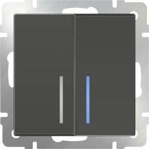 Выключатель двухклавишный проходной Werkel серо-коричневый WL07-SW-2G-2W-LED