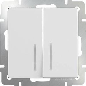 Выключатель двухклавишный проходной Werkel белый WL01-SW-2G-2W-LED