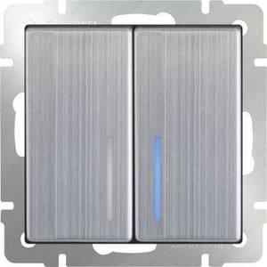Выключатель двухклавишный Werkel глянцевый никель WL02-SW-2G-LED