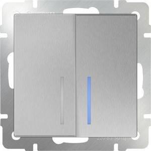 Выключатель двухклавишный Werkel серебряный WL06-SW-2G-LED