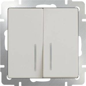 Выключатель двухклавишный проходной Werkel слоновая кость WL03-SW-2G-2W-LED-ivory выключатель двухклавишный проходной с подсветкой слоновая костьwl03 sw 2g 2w led ivory 4690389059278