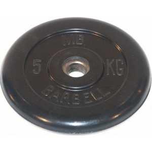 цена на Диск обрезиненный MB Barbell 26 мм. 5 кг. черный Стандарт