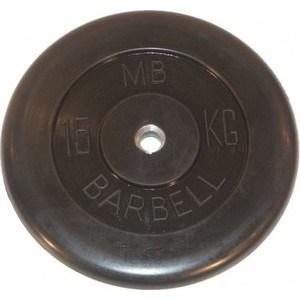 Диск обрезиненный MB Barbell 26 мм. 15 кг. черный Стандарт диск обрезиненный star fit bb 202 посадочный диаметр 26 мм 0 5 кг