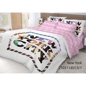 цена на Комплект постельного белья Волшебная ночь Евро, ранфорс, New York с наволочками 50x70 (702184)
