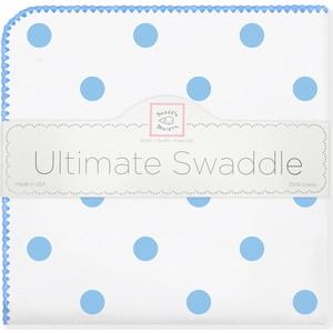 Пеленка фланель для новорожденного SwaddleDesigns Ultimate Big Dots Blue пеленка фланель радуга 75 120