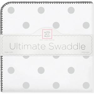 купить Пеленка фланель для новорожденного SwaddleDesigns Ultimate Big Dots Sterling по цене 1479 рублей