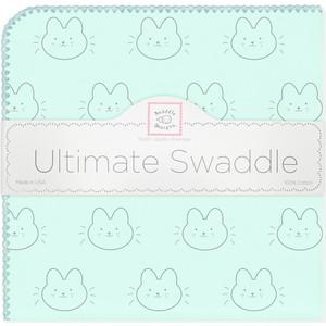 купить Пеленка фланель для новорожденного SwaddleDesigns Ultimate Bonjour Bunnie SeaCrystal по цене 1595 рублей