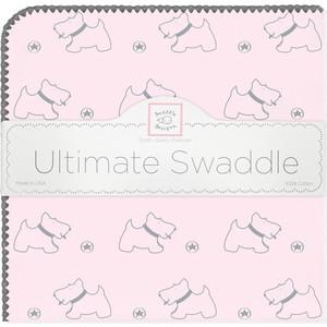 купить Пеленка фланель для новорожденного SwaddleDesigns Ultimate Gray Doggie Pstl Pink по цене 1479 рублей