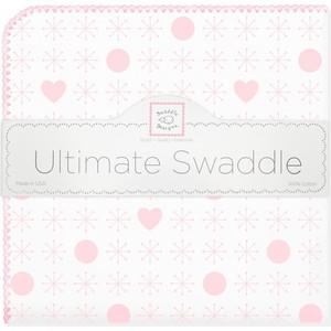 купить Пеленка фланель для новорожденного SwaddleDesigns Ultimate Jax & Hearts Pink по цене 1595 рублей