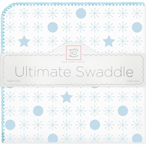 купить Пеленка фланель для новорожденного SwaddleDesigns Ultimate Jax & Stars Blue (SD-370PB) по цене 1479 рублей