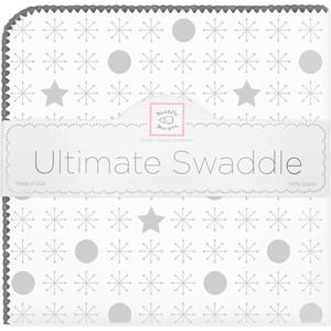 купить Пеленка фланель для новорожденного SwaddleDesigns Ultimate Jax & Stars Sterling (SD-370ST) по цене 1595 рублей