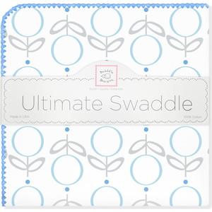 Пеленка фланель для новорожденного SwaddleDesigns Ultimate Lolli Fleur Blue