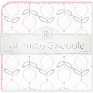 купить Пеленка фланель для новорожденного SwaddleDesigns Ultimate Lolli Fleur Pink по цене 1595 рублей