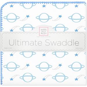 купить Пеленка фланель для новорожденного SwaddleDesigns Ultimate Planets Blue по цене 1479 рублей