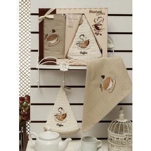 Набор кухонных полотенец Meteor Mariso kahve вафельное с вышивкой 50x50/50x70 2 штуки (8416)