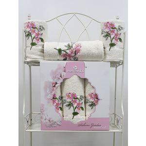 Набор из 3 полотенец Merzuka Sakura garden (50х80-2/70х130) (9048 кремовый)