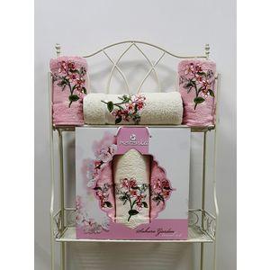 Набор из 3 полотенец Merzuka Sakura garden (50х80-2/70х130) (9048 розовый)