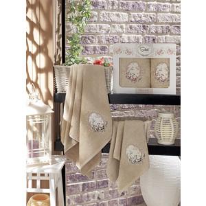 Набор из 2 полотенец Sikel Izgu бамбук с вышивкой (50x90/70x140) (9037 коричневый)