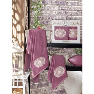 Набор из 2 полотенец Sikel Kamelya бамбук с вышивкой (50x90/70x140) (9038 фиолетовый)