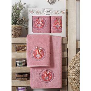 Набор из 2 полотенец Sikel Nazande бамбук с вышивкой (50x90/70x140) (9000 розовый) набор из 2 полотенец karna pandora бамбук 50x90 70x140 2197 char010