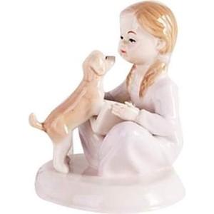 Керамическая фигурка Snowmen Девочка с собакой 10,5см Рождество