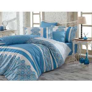 цена Комплект постельного белья Hobby home collection Евро, поплин, Lisa, синий (1501001120) онлайн в 2017 году