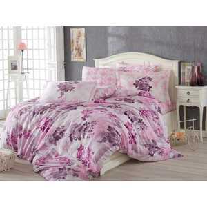 цена Комплект постельного белья Hobby home collection Евро, поплин, Elvira, лиловый (1501001114) онлайн в 2017 году