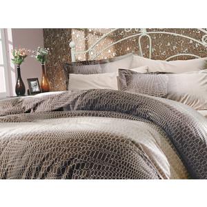 купить Комплект постельного белья Hobby home collection 1,5 сп, поплин, Estela, коричневый (1501000098) дешево