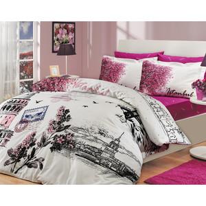 цена Комплект постельного белья Hobby home collection Семейный, поплин, Istanbul Panaroma, розовый (1501000114) онлайн в 2017 году