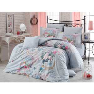 Комплект постельного белья Hobby home collection Евро, поплин, 3D Serefina, бирюзовый (1501000936)
