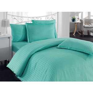 цена Комплект постельного белья Hobby home collection Евро, бамбук, Diamond Houndstooth, зеленый (1501000801) онлайн в 2017 году