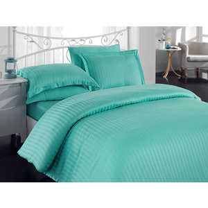 Комплект постельного белья Hobby home collection Евро, бамбук, Diamond Stripe, зеленый (1501000806)