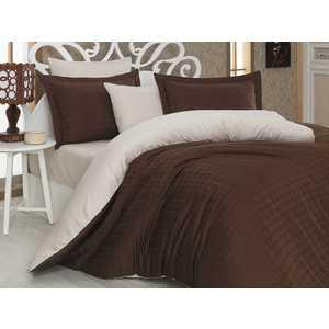 Комплект постельного белья Hobby home collection Семейный, сатин, Ekose, коричнево-кремовый (1607000044)