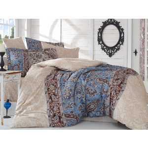 цена Комплект постельного белья Hobby home collection 1,5 сп, сатин, Caterina, коричневый (1607000139) онлайн в 2017 году