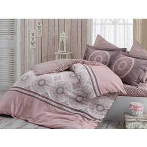 цена на Комплект постельного белья Hobby home collection Евро, сатин, Sivlvana, розовый (1501001144)