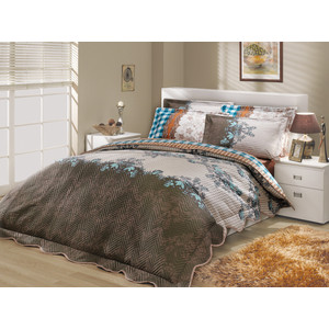 цена на Набор для спальни Hobby home collection Delfina-Serena покрывало + КПБ 2-х сп. поплин синий/синий (1501000095)