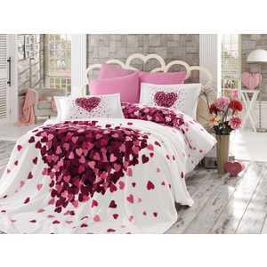 Набор для спальни Hobby home collection Juana покрывало +КПБ Евро поплин лиловый (1501001069) комплект постельного белья hobby home collection 1 5 сп поплин sueno лиловый 1501001580