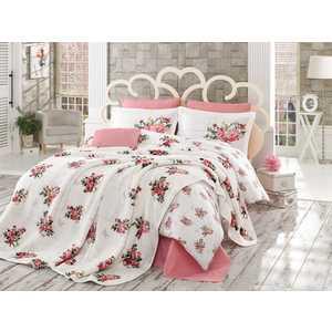 Набор для спальни Hobby home collection Paris Spring покрывало +КПБ Евро поплин розовый (1501001070)