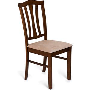 Стул TetChair CT 8162 темный дуб, ткань бежевая, с мягким сиденьем стул с мягким сиденьем афродита aphrodite доступные цвета тёмный орех