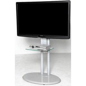 Тумба под телевизор Allegri Стелла 2 с полкой каркас серебристый стекло прозрачное