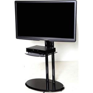 Тумба под телевизор Allegri Стелла 2 с полкой каркас черный стекло черное цена