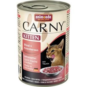 Консервы Animonda CARNY Kitten с говядиной и сердцем индейки для котят 400г (83712) консервы для котят animonda carny с говядиной и сердцем индейки 200 г