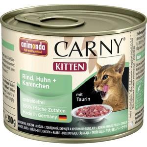 Консервы Animonda CARNY Kitten с говядиной, курицей и кроликом для котят 200г (83697) консервы animonda carny kitten с говядиной и сердцем индейки для котят 200г 83696